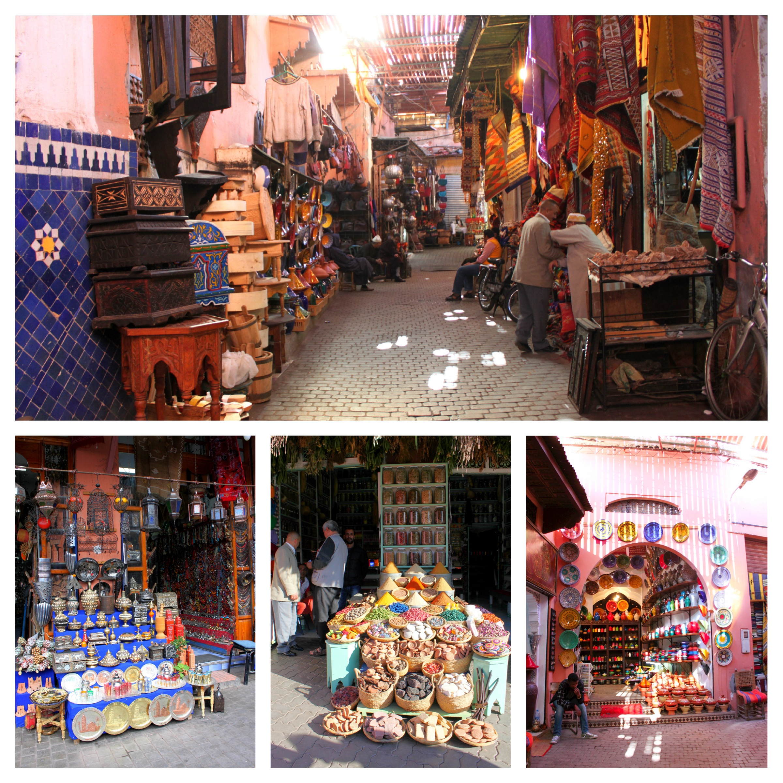 Negozi Souk Marrakech - spezie, tappeti, creamiche, stoffe, vasi, seta - Marocco