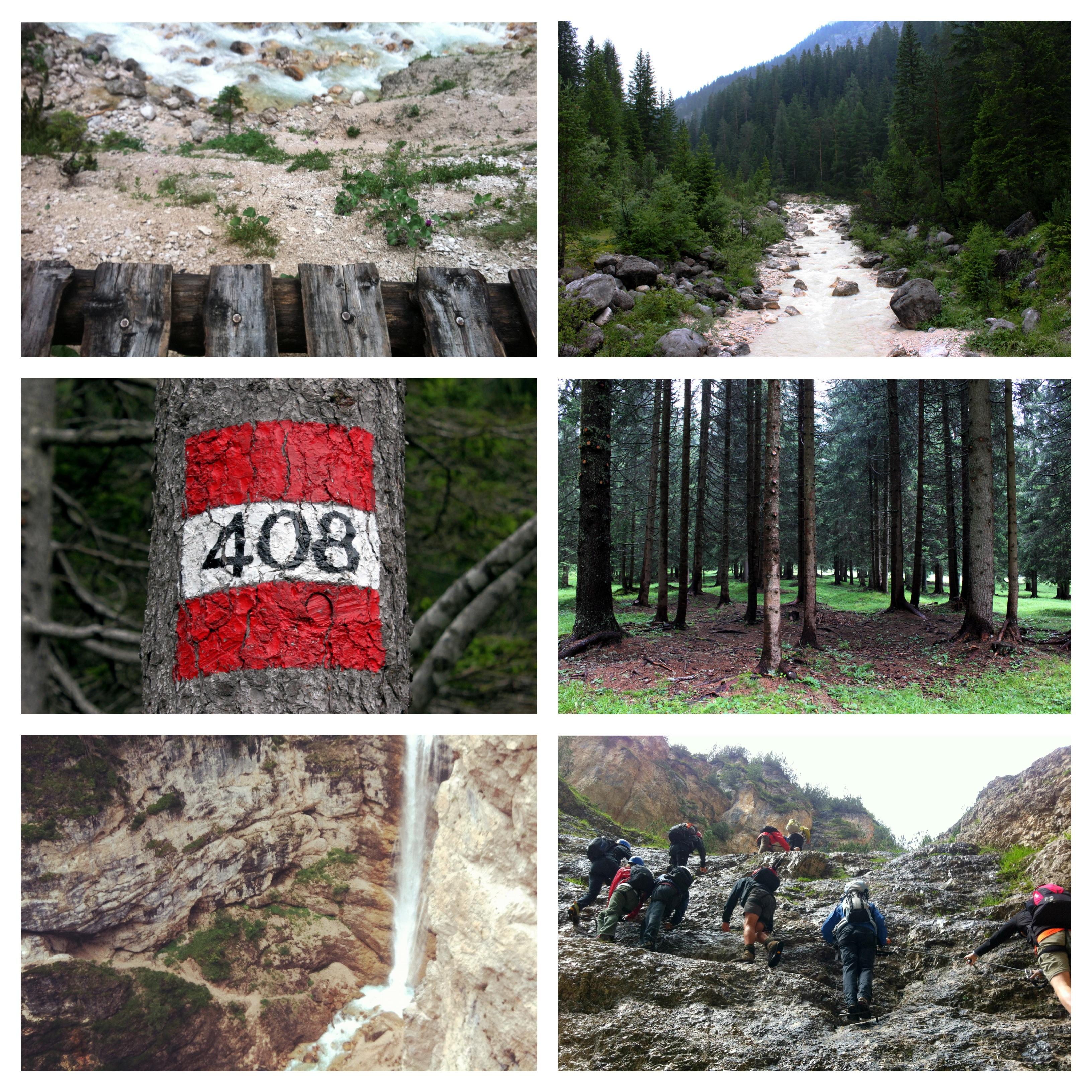 montagna cortina hiking trip dolomiti d'ampezzo cascata camminata